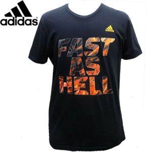 Adidas Black CrewNeckTee T Shirt L OrangeLettering